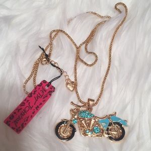 Betsey Johnson Blue Motorcycle Necklace NWT